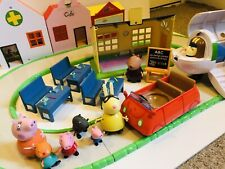 PEPPA PIG Park Playset Shops Figures Scholl Aeroplane Car Road FIGURE Lot Bundle