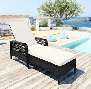 "78.7"" Rattan Chaise Lounge Chair Patio Chair w/Beige Cushion Adjustable Recliner"