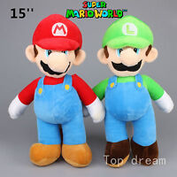 "New Super Mario Bros. Plush Mario Luigi Soft Toy Stuffed Animal Doll Teddy 15"""