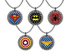 5 SUPER HERO 3D Bottle Cap Necklace Birthday Party Favors