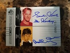 2002 UD SP Authentic SOTT Auto GORDIE HOWE & BOBBY ORR Dual Signed HOF Rare