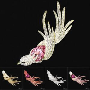 "THRUSH Pink Finch Bird Sparrow Parrot Phoenix Brooch Pin Crystal 5"" Bridal Jewel"