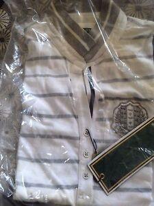 RRP £106 MARIANE Galvanni Woman's polo  shirt  grey white  new Size 16 XL  Italy
