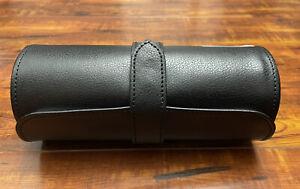 NIB Wolf Heritage Blake Leather Watch Roll 3-Piece | BLACK, 305628