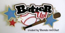 Batter Up Baseball paper piecing title Premade Scrapbook Pages album by Rhonda