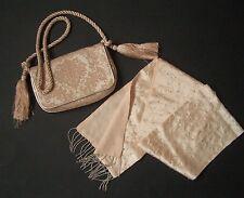 KURT GEIGER Beige Brocade Bag & Matching Long Palest Pink Beaded Scarf BOTH NEW