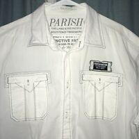 Parish Nation Men's White Button Down Short Sleeve Shirt Size 3XL XXXL