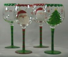 Hand Painted Wine Glass 2 Santa Claus and 2 Christmas Tree