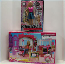 LOT 2- Barbie 3 Room GLAM GETAWAY HOUSE w/ Furniture + GLITTER Hair Barbie Doll