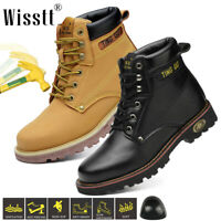 Safety Boots Men Work Shoes Leather Steel Toe Water Resistant Breathable Lace Up
