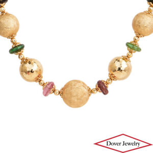 Estate Multicolor Stones 14K Gold Beaded Textured Necklace 21.6 Grams NR
