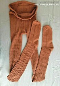 RIVER ISLAND Tights Ginger Tan Rust Cotton Cable Tights S-M (with Fault)