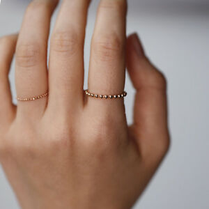 Minimalist Soft Chain Ring, 2mm Bead Ball Ring, 14K Solid Gold Ring, Thin Gold