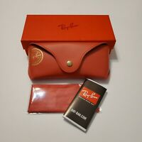 Ray Ban Sunglasses Case Smooth Red Material Snap Closure with Microfiber Cloth