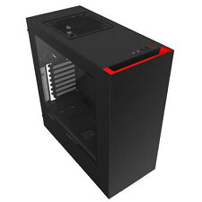 NZXT SOURCE 340 BLACK RED USB 3.0 HD AUDIO PC TOWER CASE INC SIDE WINDOW & FANS
