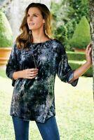 Soft Surroundings Alize Velvet Tie Dye 3/4 Sleeve Pullover Tunic Women's medium