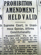 1931 newspaper US SUPREME COURT rules PROHIBITION AMENDMENT to be CONSTITUTIONAL