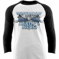Official Superman T-shirt Earth's Hero Logo Long Sleeve Raglan DC Comics L XL