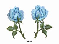 #5705B Lot 2Pcs /Pair Blue Rose Flower Embroidery Iron On Appliqué Patch