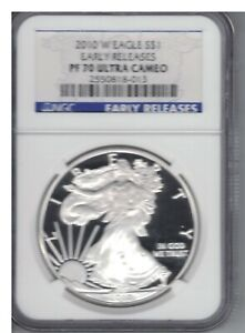 2010 W 1 OZ SILVER EAGLE PF70 ULTRA CAMEO NGC GRADED EARLY RELEASE
