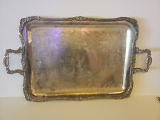 """Vintage W. M. Rogers Silver Decorative Engraved Ornate Butlers Serving Tray 22"""""""