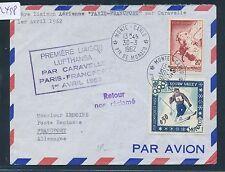 82498) LH FF Paris - Frankfurt 1.4.62, Brief ab Monaco