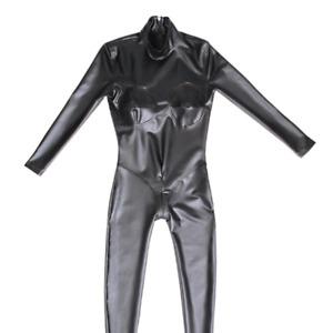 Ladies Wet Look Jumpsuit Faux Latex Bodysuit Catsuit Sexy Zip Crotch Black