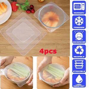 4PCS Stretch Silicone Storage Wraps Seals Reusable Lids Food Bowl Cover Set UK