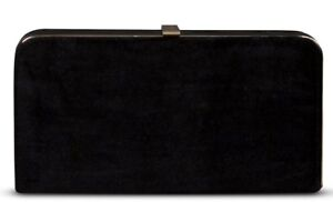 Gorgeous Designer Velvet Clutch Bag Black gold shoulder chain Zandra Rhodes