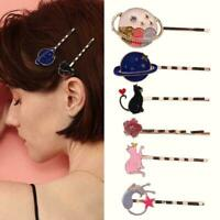 Hair Styling Wavy Bobby Pins Cute Oil Drop Starry Sky Clips Planet Hair Gli X3A4