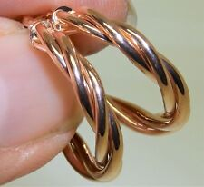 20mm  9 CARAT  9CT  ROSE GOLD TWISTED CREOLE HOOP EARRINGS