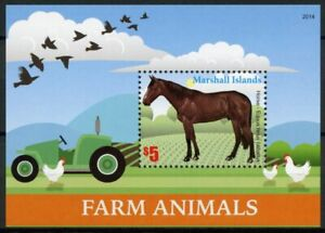 Marshall Islands Farm Animals Stamps 2020 MNH Horses Tractors Chickens 1v S/S