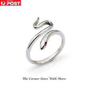 Snake Ring Silver Look Adjustable Size Women's Fashion Dress Jewellery Charm AUS