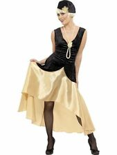 20s Gatsby Girl Costume,Black and Gold, 20-22,1920's Razzle Fancy Dress  #AU