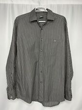 La Coste Button Up Long Sleeve Striped Shirt Gray White Mens 42
