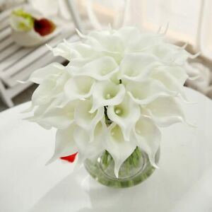 10 PACK Artificial PU Real Touch Calla Lily Fake Flowers Wedding Home Decor USA