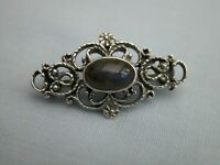 STUNNING SCROLLWORK ENGLISH MADE SOLID STERLING SILVER + OVAL LABRADORITE BROOCH
