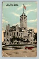 Junction City KS, Court House, American Flag Waving, Vintage Kansas Postcard
