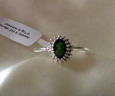 Russian, Chrome Diopside Ring: Topaz, Halo, Sterling Silver, Size P Or Q