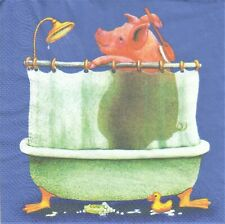 1 Lunch Papier Serviette Napkin (BP674) Schwein unter der Dusche