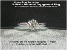 Antique Platinum Solitaire Diamond Engagement Ring .91ct Old-cut UK P Edwardian
