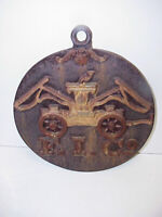 VTG Cast Iron F.I.Co Firemans Insurance Plaque Sign