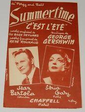 Partition SUMMERTIME C'est l'été - Du BOSE HEYWARD - René ROUZAUD - G. GERSHWIN