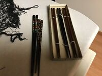 5 Pairs of Japanese Lacquer Chopsticks Hair Sticks Gift Set  Made in Japan