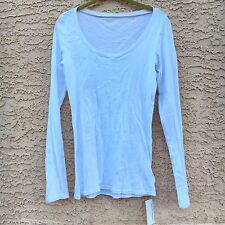 American Apparel Solid Sheer Rib Long Sleeve Scoopneck Top White NEW