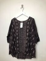 Womens Johnny Was Ridden Blouse Shirt Top Sz Small Brown Embroidered 3/4 Sleeve
