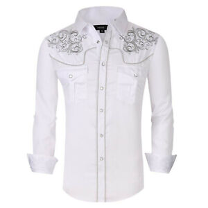 Mens Western Rodeo Cowboy Shirt White Silver Embroidery Snap Pockets General 5