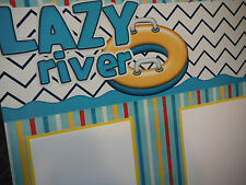 2 Premade Lazy River Waterslides 12x12 Scrapbook Pages for your family