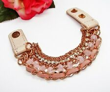 Adorable! Coppertone Pink Leather Rhinestones Glass Beads & Chains Bracelet!