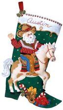 Bucilla 18-Inch Christmas Stocking Felt Appliqué Kit, 85468 Cowboy Santa